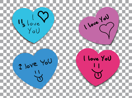 love declaration: Multicolored paper stickers, message declaration of love. Illustration