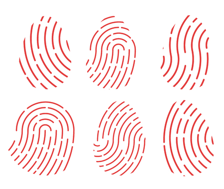 Set of red fingerprint icons. Illustration