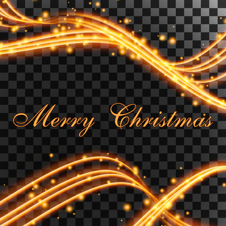 happy christmas light waves of fire particles on a transparent background Illustration