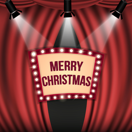 Estilo para una fiesta de Navidad, una cortina roja y un ícono de iluminación navideña con focos brillantes. Foto de archivo - 91196036