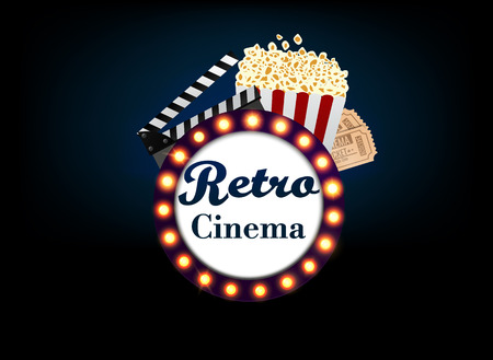 Theater sign or a cinema sign on a blue screen backlighting, and popcorn, ticket. Vector Illustration.