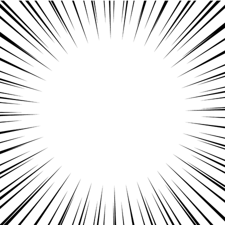 Comic Book Black And White Radial Speed Lines Background. Manga ...