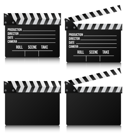 Realistic clapper cinema and movie on white background. Vector illustration.