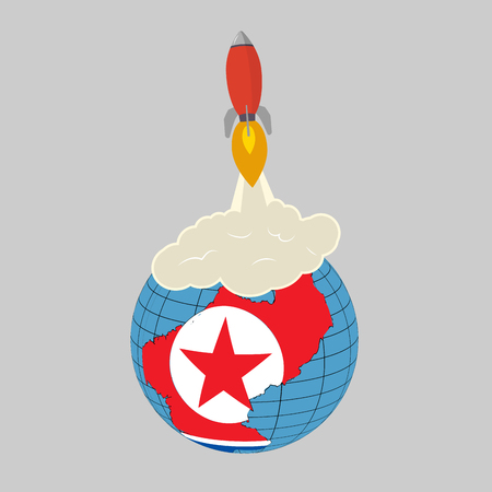 Launch of a ballistic nuclear missile.  North Korean flag map. Vector illustration.