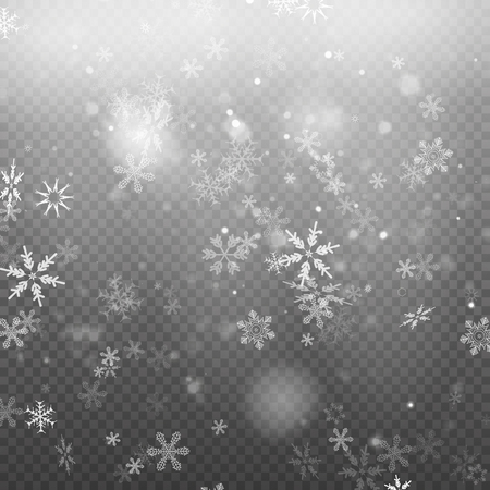 Falling Christmas snow fall isolated on transparent pattern illustration.