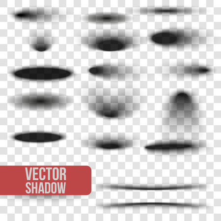 Set oval shadow with soft edges isolated on transparent background.