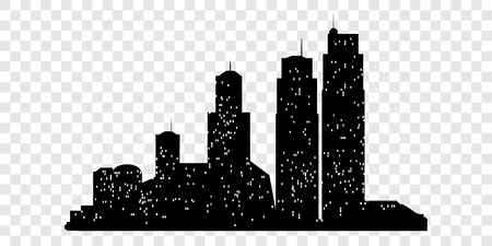 Set of vector city silhouette with on transparent background. Vector Illustration