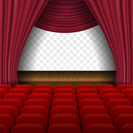 Premium open red curtains theater background with glittering stars  background with spotlight design template, performance or event premiere poster. Vector Illustration 矢量图像
