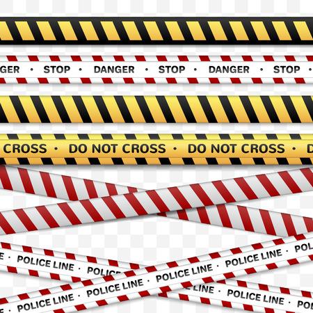 Rubans de collection de danger, jaune noir, rouge blanc police line.isolated