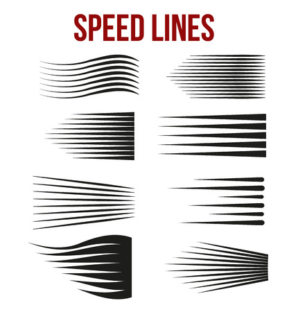 Speed lines black for Manga and Comic vector elements on white background. Vector Illustration Stock Illustratie
