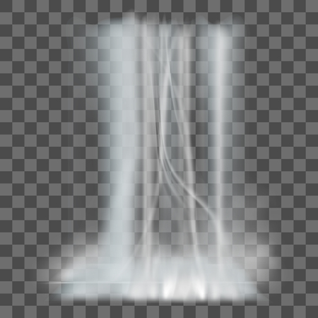 Realistic nature waterfalls with fog on transparent background isolated. vector illustration Illustration