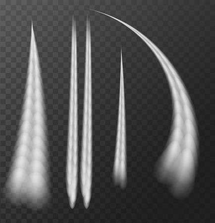Rastro de condensación del aeroplano aislado en fondo transparente. Ilustración vectorial