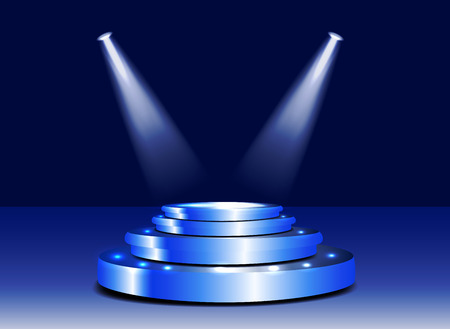3d Stage podium with lighting. Stage podium scene with for award ceremony on blue background. Sparkling spotlight. Vector illustration