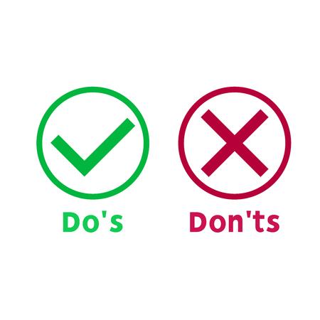 Einfache Dos and Donts wie Checkliste. flacher grafischer Umrissentwurf lokalisiert auf weißem Hintergrund. Checklisten-Symbolelement. Häkchen und Kreuz. Vektor-Illustration