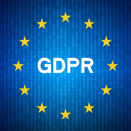 General Data Protection Regulation(GDPR). Security technology background. EU flag. Vector illustration