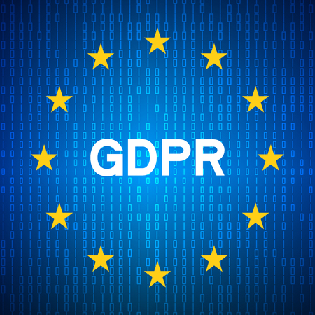 General Data Protection Regulation(GDPR). Security technology background. EU flag. Vector illustration