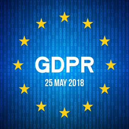 General Data Protection Regulation(GDPR). data 25 may 2018. Security technology background. EU flag. Vector illustration
