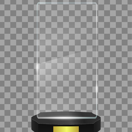 Empty glass Award Trophy isolated on transparent background.Vector illustration