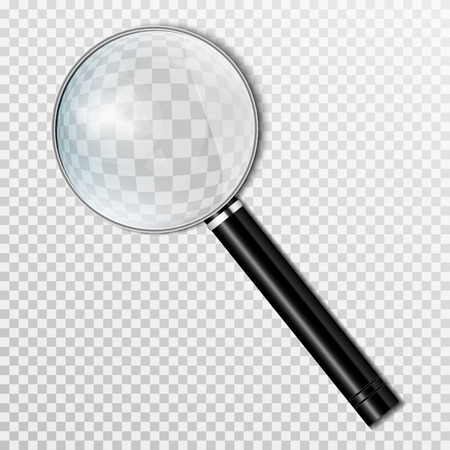 Realistic magnifying glass Isolated on a transparent background. Magnifying tool for research and search for your design. Vector Illustration
