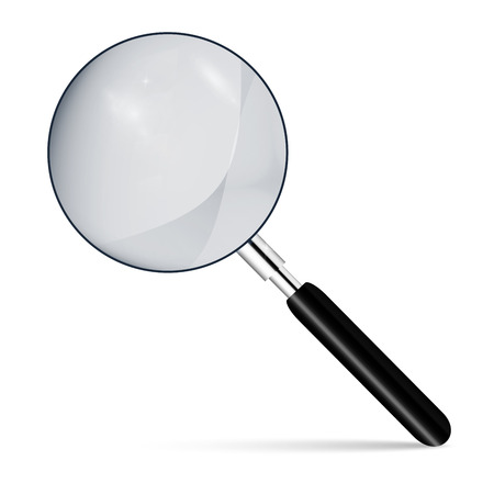Metal magnifier with a dark handle for office concepts. Realistic magnifying glass on a isolated background.