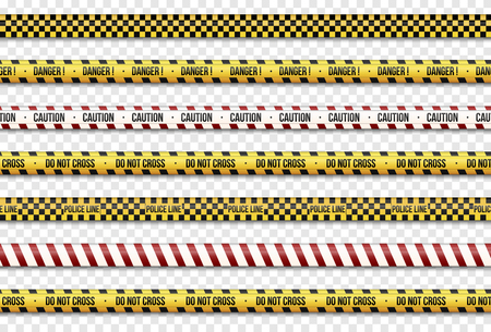 Black and yellow stripes set. Caution lines isolated. Warning tapes.  Do not cross, police, Danger signs lines. Illustration