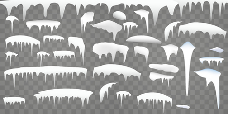 Winter Set of realistic snow elements. Borders with frost snowcap and icicles on transparent background, vector illustration.