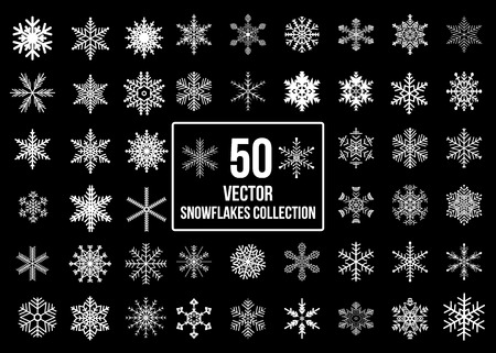 Snowflakes collection isolated on black background. Flat snow icons. Christmas and new year banner, cards decoration element set. Çizim