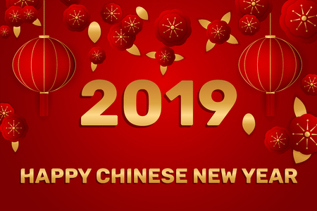 Chinese New Year traditional red greeting card illustration with traditional asian decoration Elements and lantern on Red Background. Vector illustration