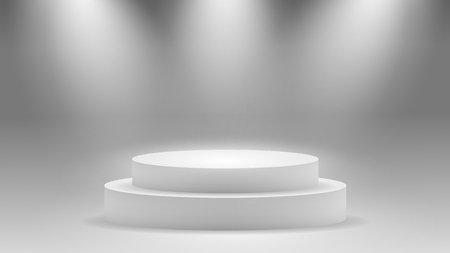 Round pedestal. Stage podium with lighting. Winner podium and Scene with for Award Ceremony concept. Stage backdrop on fog effect.  vector Illustration Illustration