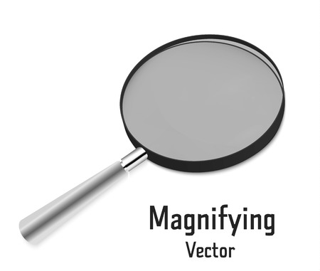 Realistic 3D magnifying glass Isolated on a white background. Magnifying tool for research and search for your design. Vector Illustration