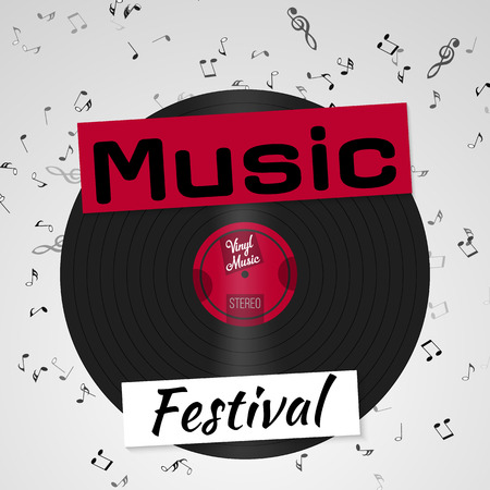 Banner for the retro music festival. Musical poster for your design. Music elements design for card, invitation, flyer, brochure. Music vinyl and notes background vector illustration.
