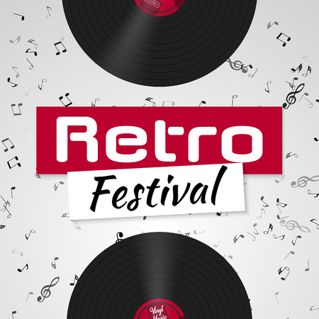 Banner for the retro music festival. Musical poster template for your design. Music elements design for card, invitation, flyer, brochure. Music vinyl and notes background vector illustration.