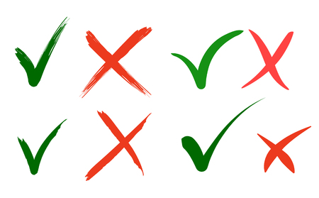 Hand drawn  Green check mark and red cross icons. Vector Illustration Stock Illustratie