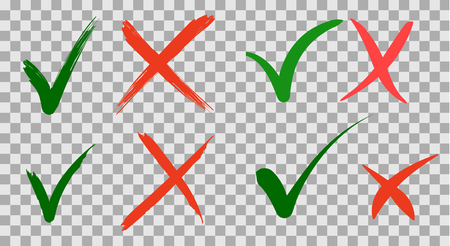 Hand written Do and Dont check tick mark and red cross checkbox icons lettering design on isolated background. Vector Illustration