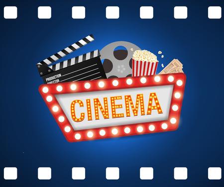 Cinema poster design template. Movie concept banner design  Movie time background banner shining sign. Popcorn, filmstrip, clapboard, tickets. Stock Illustratie