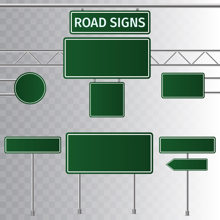 Set of road green traffic signs. Blank board with place for text. Isolated on transparent background. Vector illustration. Çizim