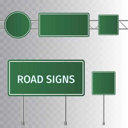 Conjunto de señales de tráfico de carretera verde. Tablero en blanco con lugar para el texto. Aislado sobre fondo transparente. Ilustración vectorial. Ilustración de vector