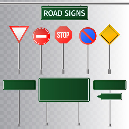 Set of road signs and green traffic signs. isolated on transparent background. Vector illustration.