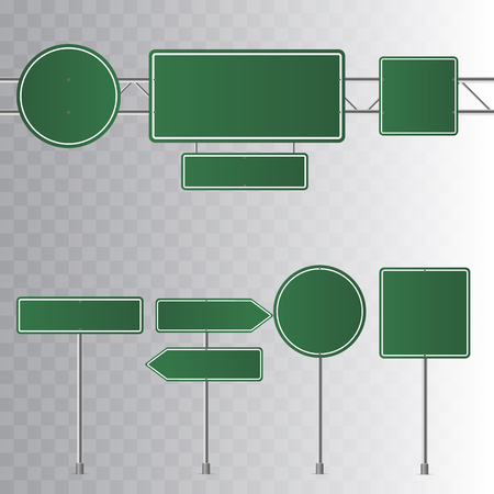 Set of road green traffic signs. Blank board with place for text. Isolated on transparent background. Vector illustration. Stock Illustratie