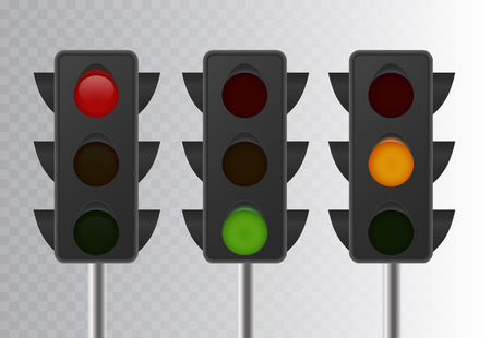 Realistic Traffic Light symbol on  transparent background. Simple road sign.