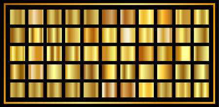 Set of Gold  gradient. Golden shiny metallic texture, luxury decoration, shiny vector background for wallpaper, background, wrapping, fabric etc.
