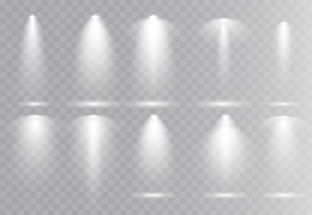 Vector light sources, concert lighting, stage beam spotlights set  lens flash effect. Spot lamp projection studio for podium, club, show, scene illuminated. Floodlight on transparent background.
