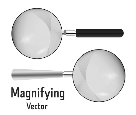 Set of Realistic magnifier. Magnifying glass tool for research and search for your design. Isolated on white background illustration.