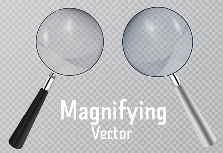 Realistic magnifier. Magnifying glass tool for research and search for your design. Isolated on transparent background illustration.