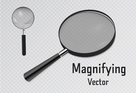 Set of 3D Realistic magnifier. Magnifying glass tool for research and search for your design. Isolated on transparent background illustration. Stock Illustratie