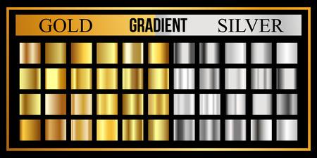 Set of Gold and silver gradient. Golden metallic texture, shiny vector background. Stock Illustratie