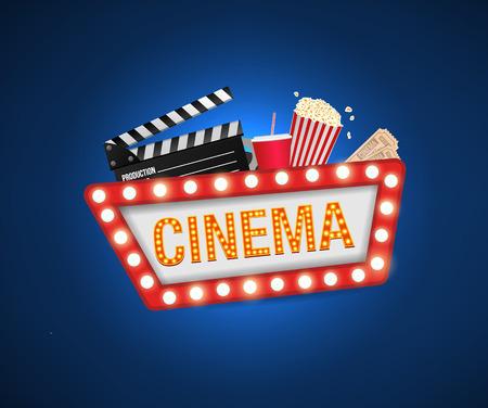 Cinema poster design template. Movie concept banner design  Movie time background banner shining sign. Popcorn, filmstrip, clapboard, tickets. Çizim