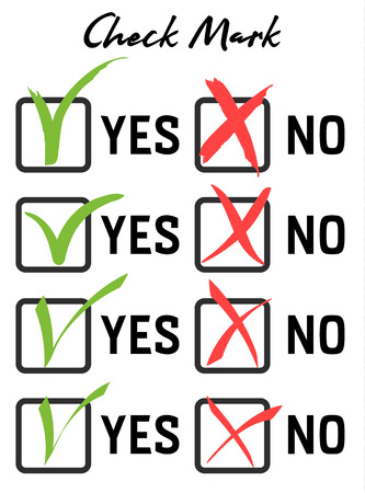 Large set Green checkmark and red crosshair in handwritten grunge style in boxes on white background. Consent or refusal to poll questionnaires, tests.