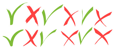 Hand drawn Green check mark and red cross icons. Vector Illustration