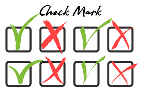 Green checkmark and red crosshair in handwritten grunge style in boxes on white background. Consent or refusal to poll questionnaires, tests. Illustration